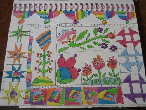 Whimsical garden original sketch